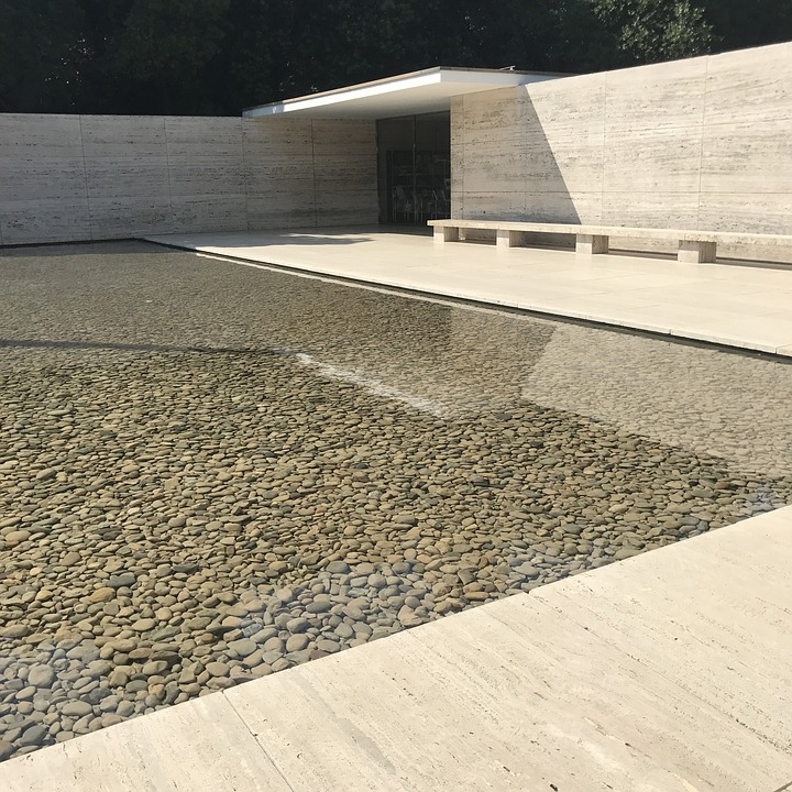 Barcelona, Pavilion, Architecture, World's Fair, Water