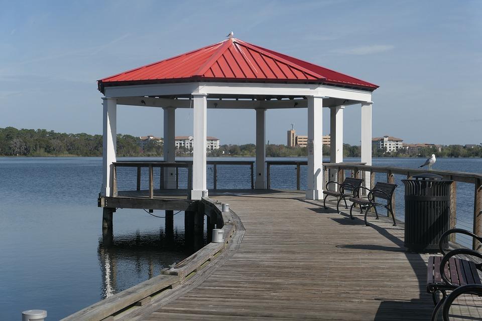 Gazebo, Pavilion, Boardwalk, Wooden Benches