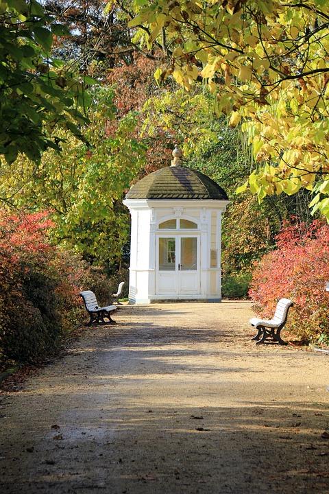 Way, Path, Park, Pavilion, Autumn, Tree, Trees, Bank