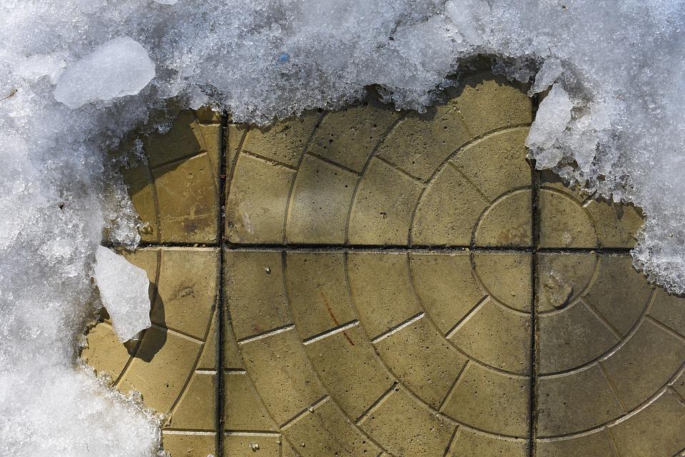 Spring, Tile, Paving, Ice, Snow, Melts, Background