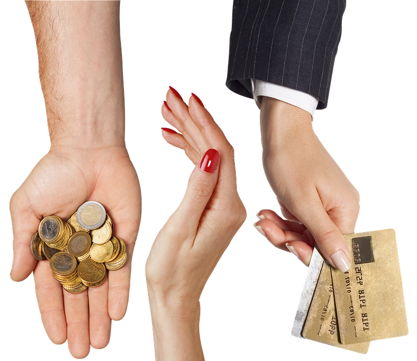 Hands, Coins, Credit Card, Palm, Money, Bank, Payment