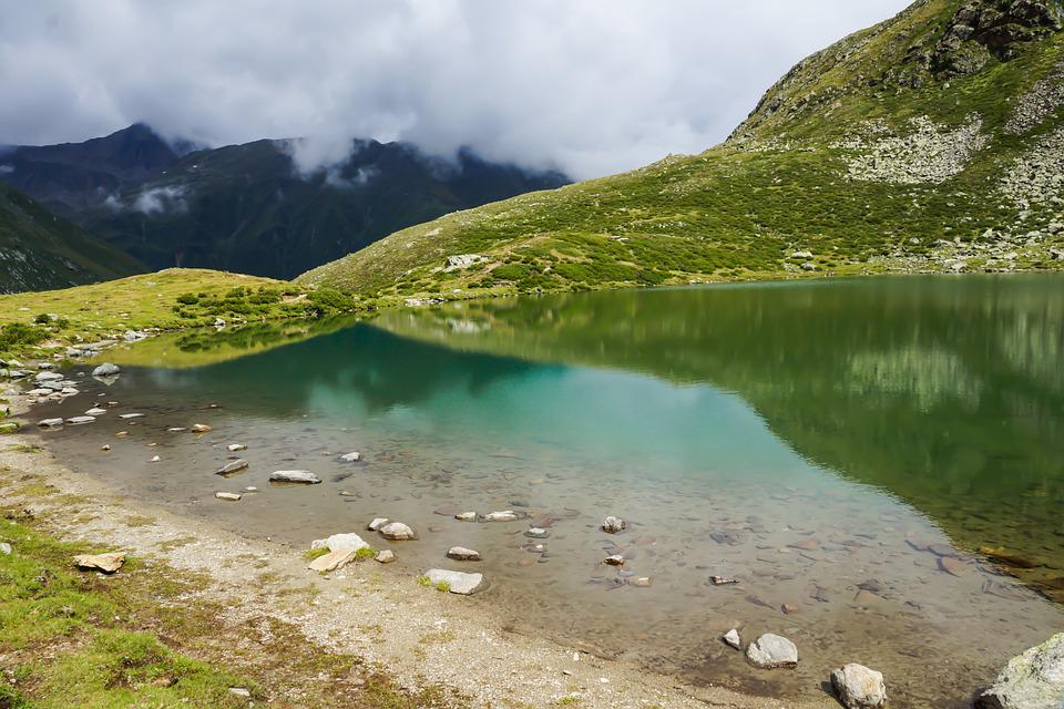 Landscape, Lake, Alm, Peaceful, Bank, Water, Clouds