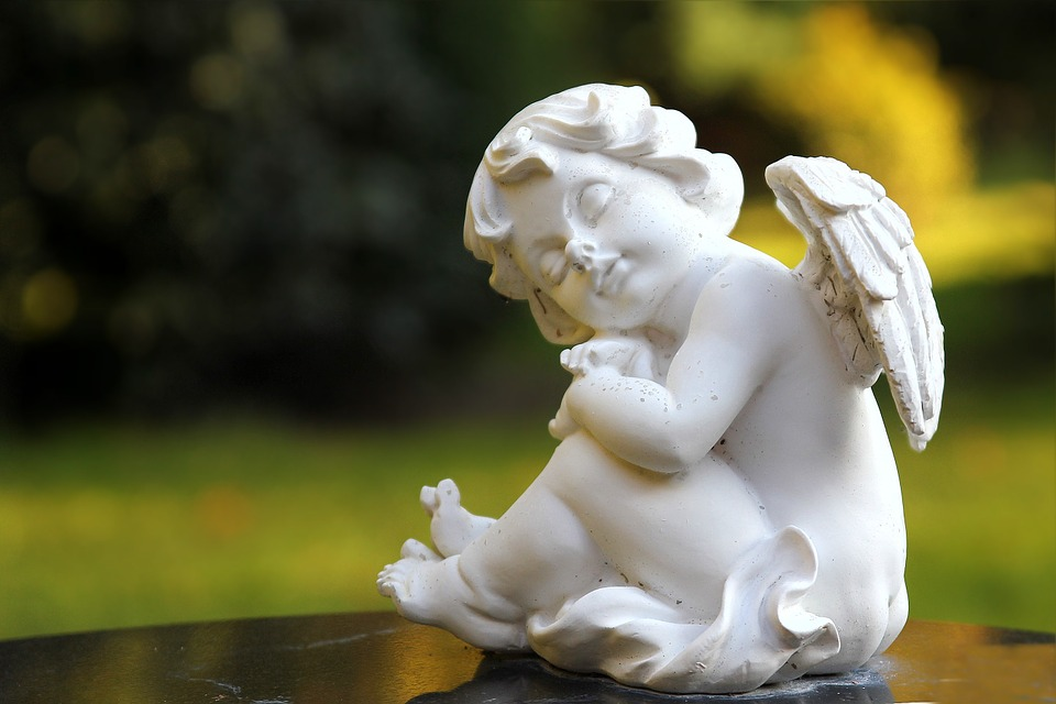 Angel, White, Sitting, Peaceful