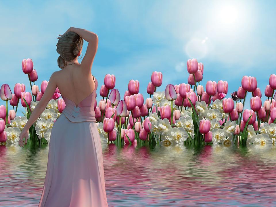 Nature, Flowers, Spring, Sun, Mood, Girl, Peaceful