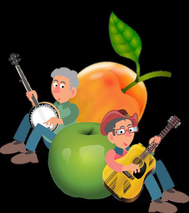 Peach, Apple, Music, Banjo, Guitar, People