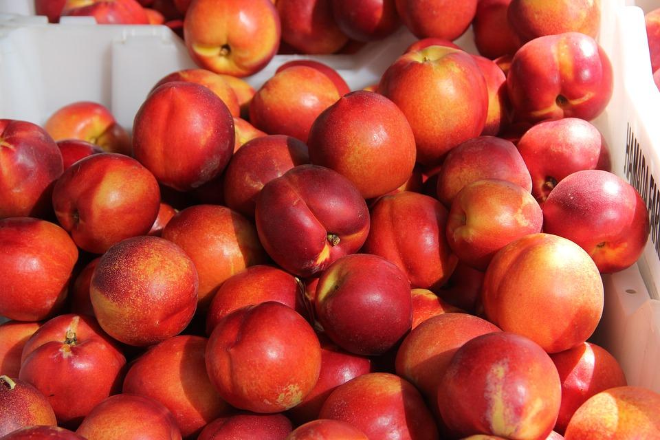 Nectarines, Peach, Fruit, Fresh, Ripe, Organic