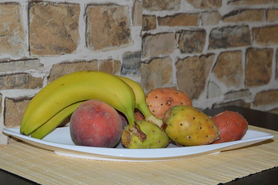 Fruit, Fruit Bowl, Fruits, Bananas, Peaches