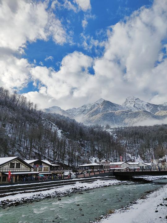 Mountains, Nature, Landscape, Peak, River