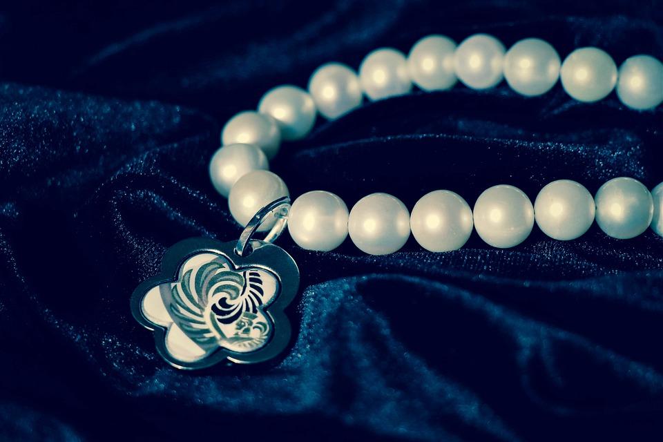 Chaplet, Pearl, Velvet, Pendant, Vintage, Ornament