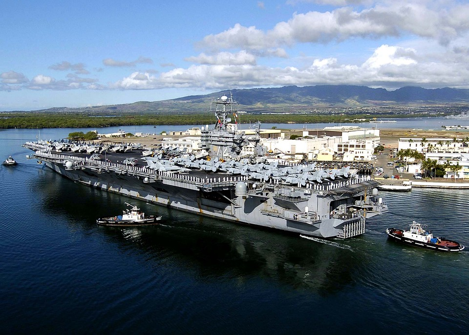 Pearl Harbor, Hawaii, Sky, Clouds, Bay, Port, Harbor