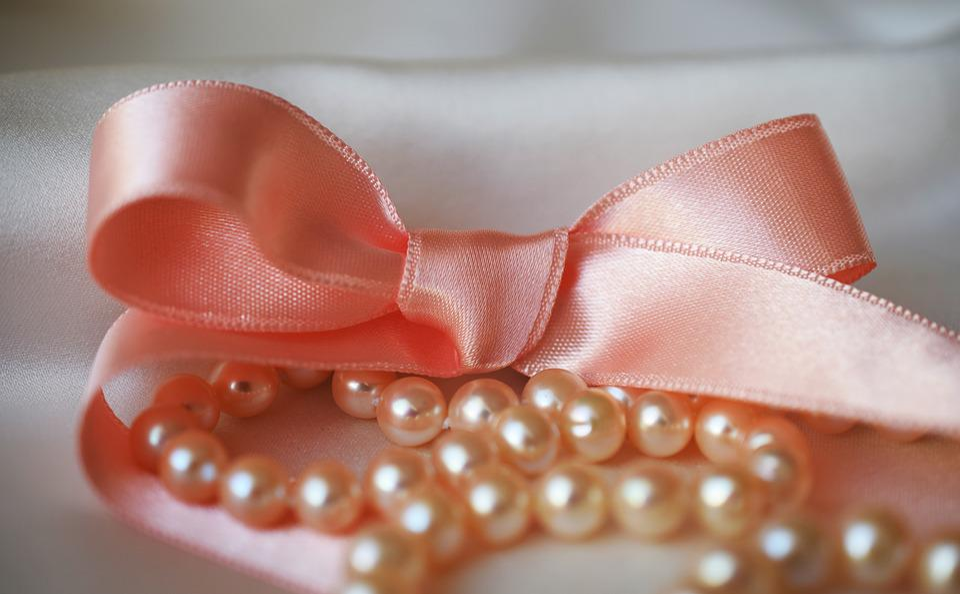 Ribbon, Pearls, White, Pink Ribbon, Closeup