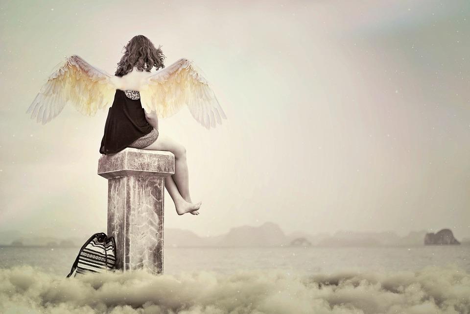 Angel, Guardian Angel, Aura, Female, Sky, Pearly