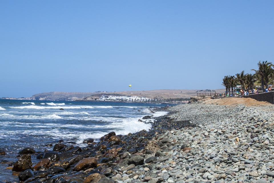 Gran Canaria, Pebbly Beach, Ocean, The Coast