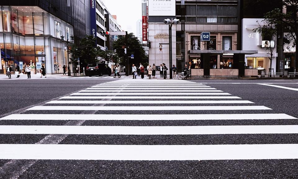 Buildings, City, Crossing, Pedestrian Crossing