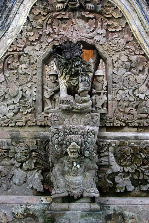 Indonesia, Bali, Temple, Pediment, Bas-relief, Buddhist