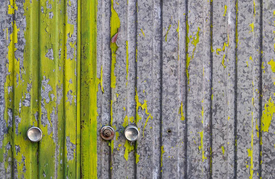 Door, Green, Paint, Peeling, Peeling Paint, Old