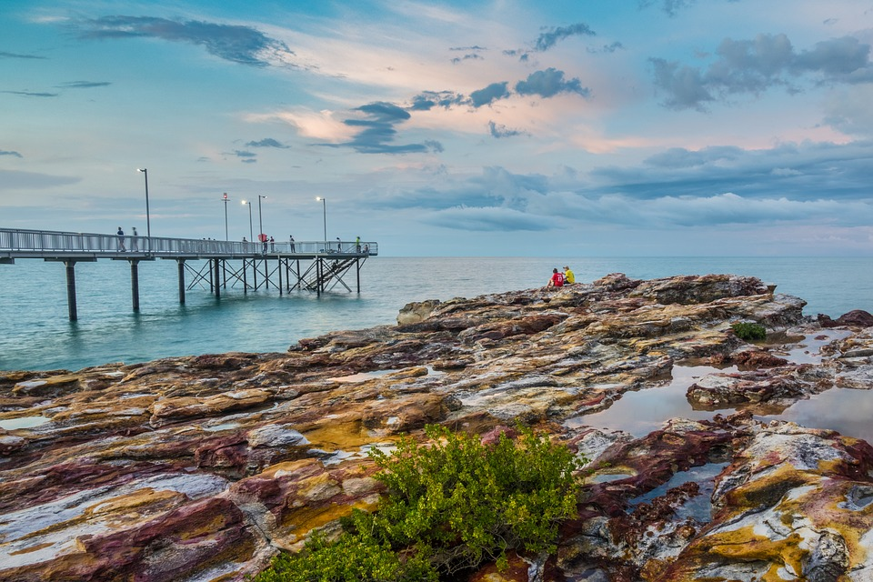 Sunset, Peer, Tropical, Coastline, Darwin, Australia