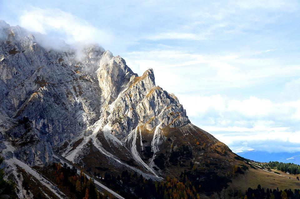 Alpine, Mountains, Dolomites, Peitlerkofel, Rock