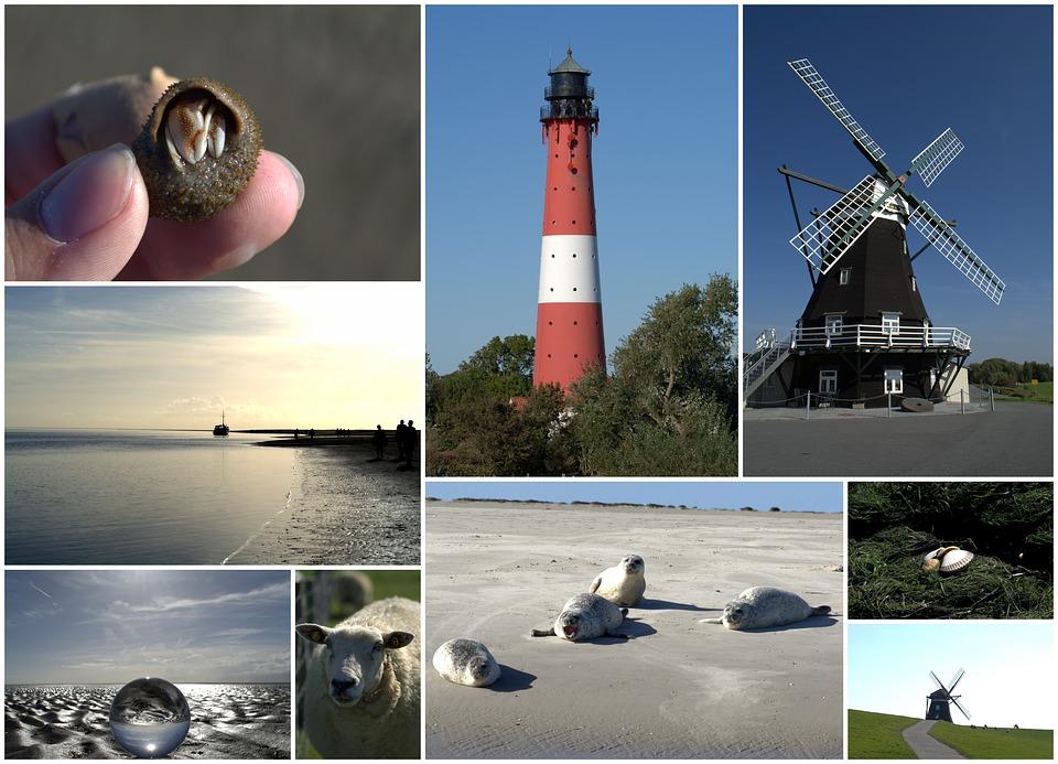 Collage, Postcard, North Sea, Nordfriesland, Pellworm