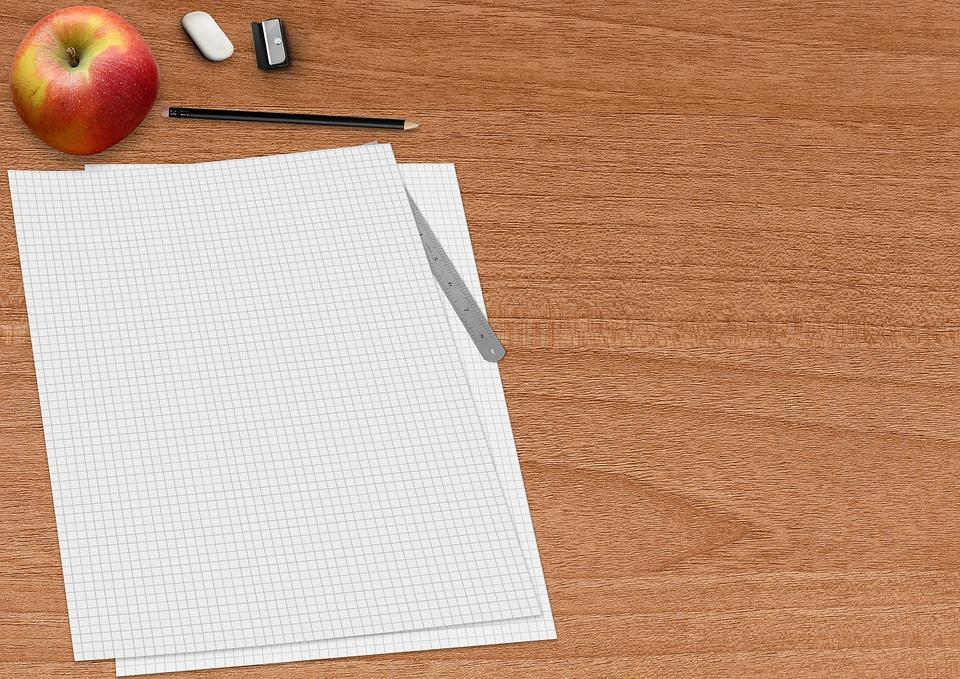 Paper, Block, Pencil, Apple, Eraser, Spitzer