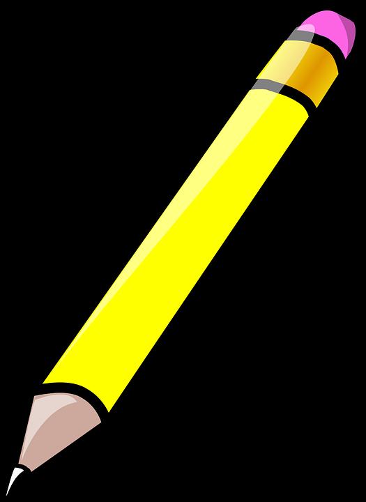 Pencil, Eraser, Rubber, Yellow, Write, Sketch, Draw