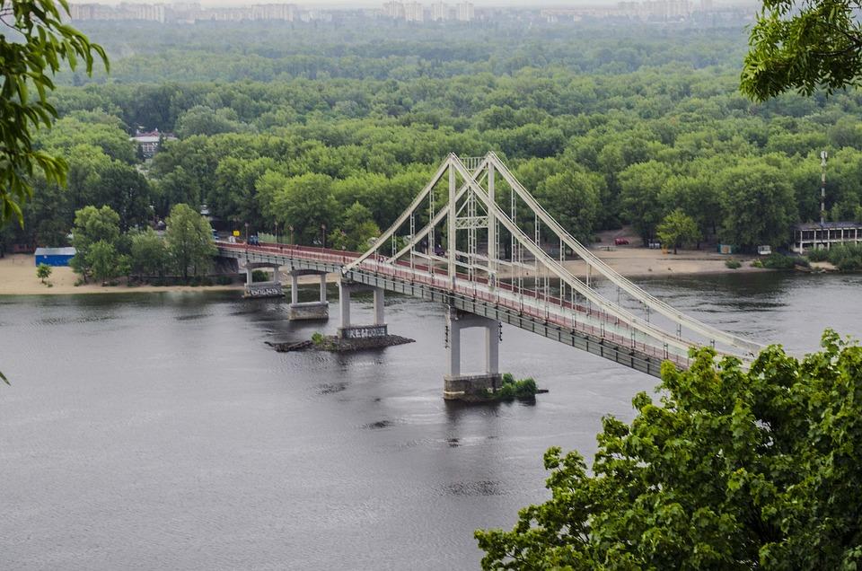 Bridge, Dnieper, Pedestrian, Pendant, Ukraine, Kiev