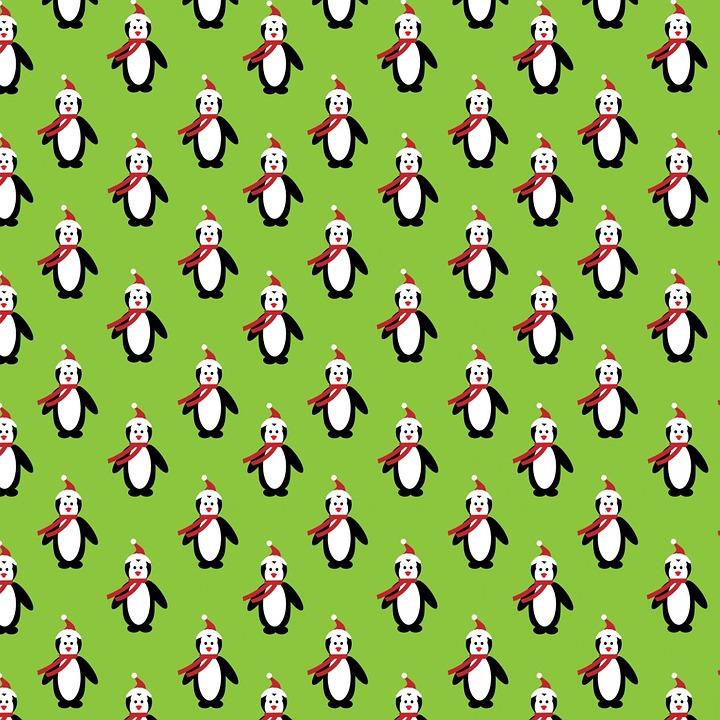 Christmas, Penguin, Penguins, Cute, Green, Background