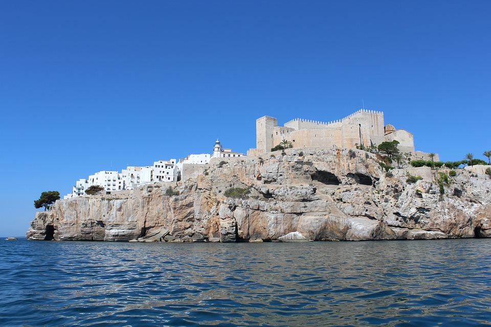 Castle, City, Sea, Peñíscola, Castellón, Valencia