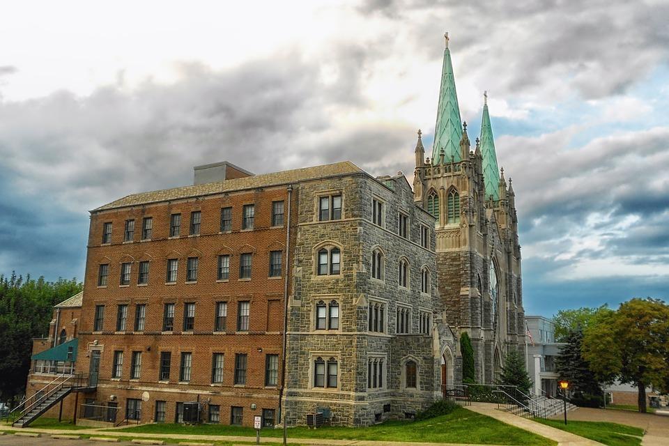 Hazelton, Pennsylvania, Church, Town, Sky, Clouds