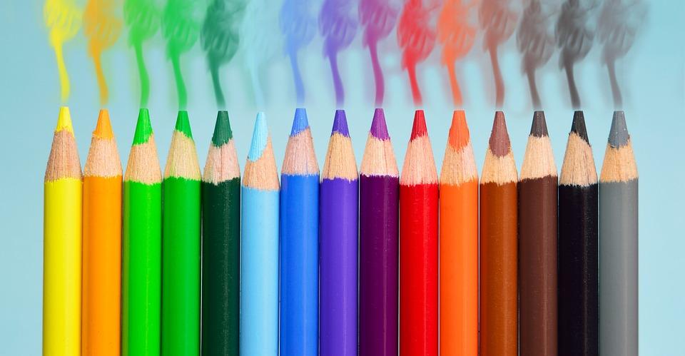 Pens, Smoke, Colorful, Yellow, Orange, Blue, Green