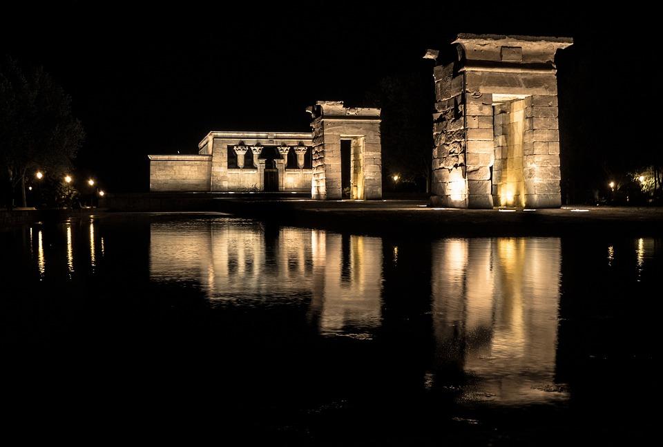 Temple, Egypt, Night, Penumbra, Light, Peace