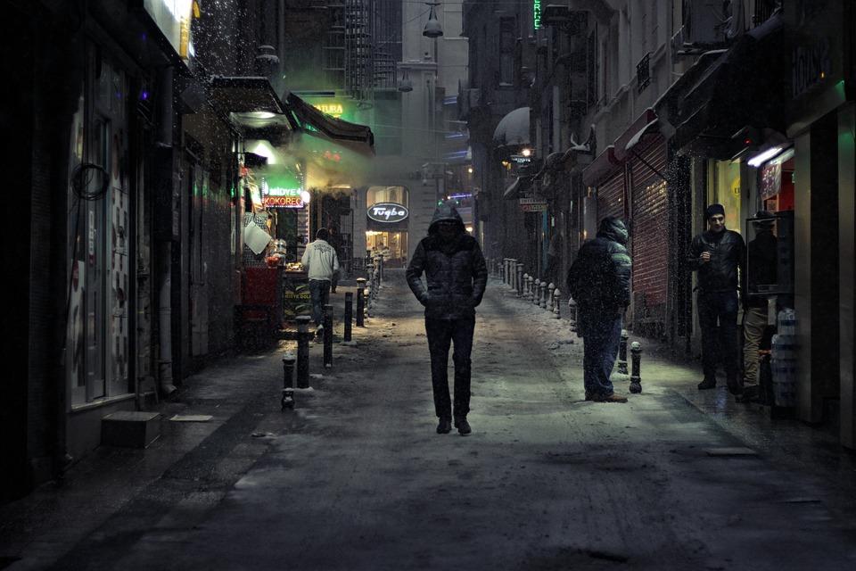 Alone, Walking, Night, People, City, Street, Lonely