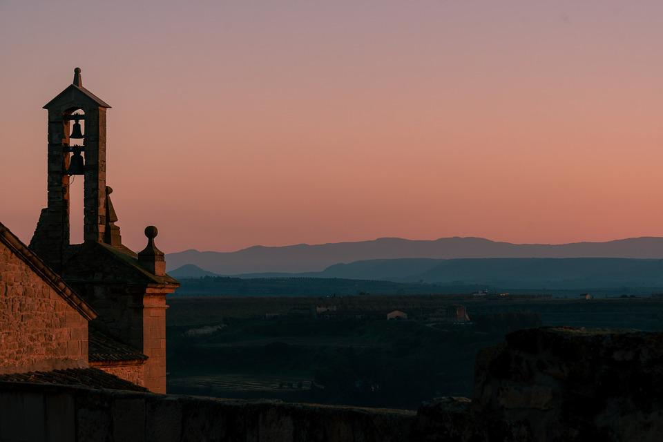 Sunset, People, Bell Tower, Arbeca, Lleida