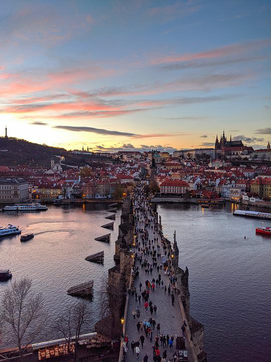 Prague, Charles Bridge, People, Bridge, City View
