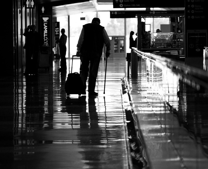 Silhouette, Airport, Bw, Man, Portrait, Guitar, People