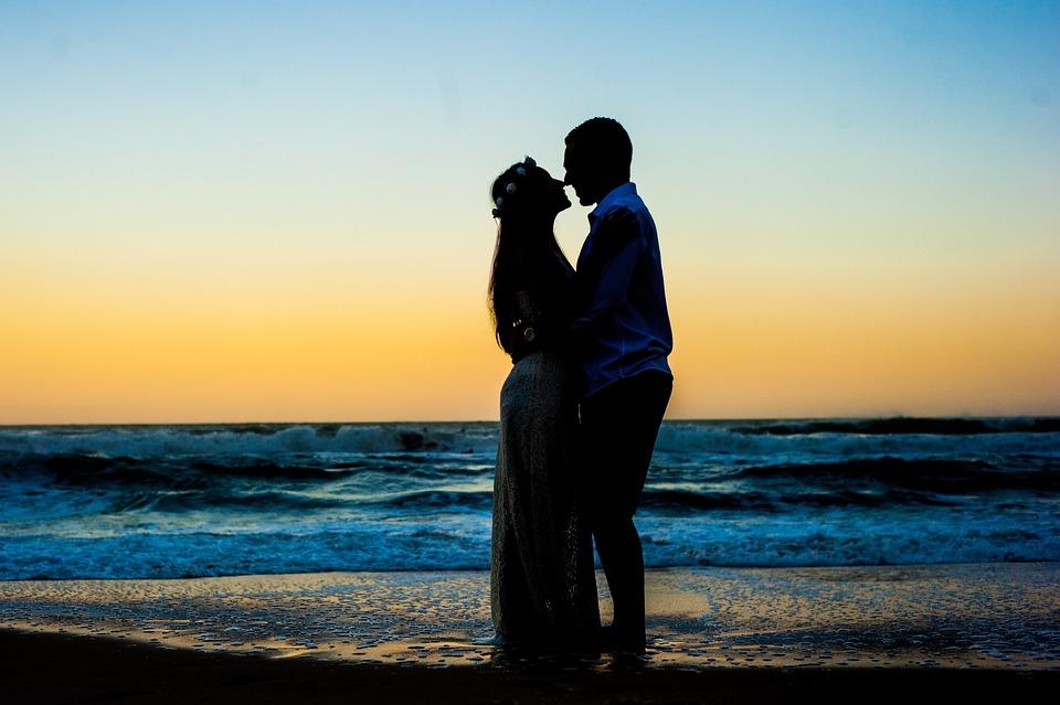 Silhouette, Beach, Essay, Casal, People, Ocean, Mar
