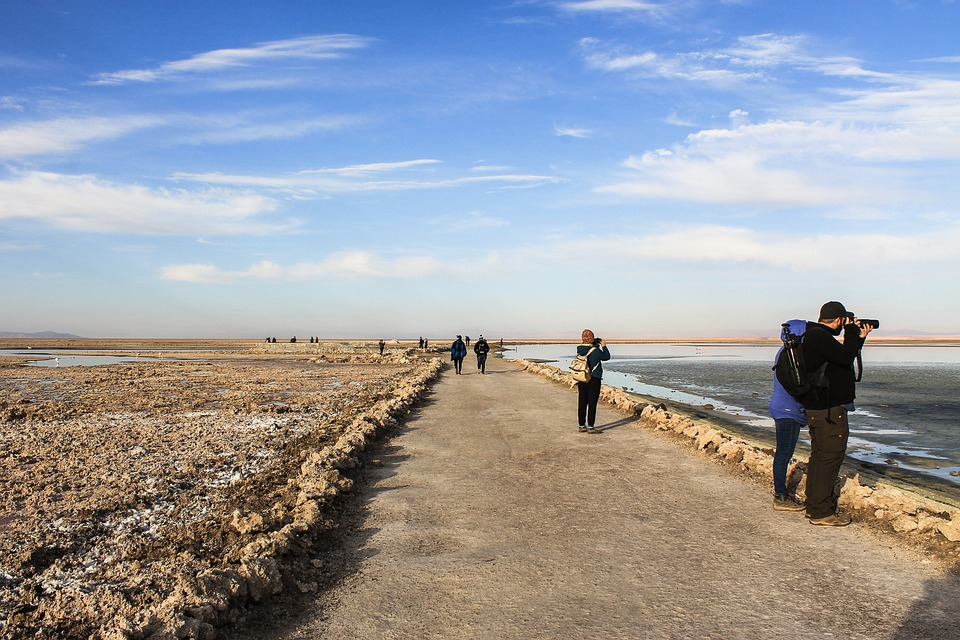 Lake, Coast, Tourists, Salt Desert, People