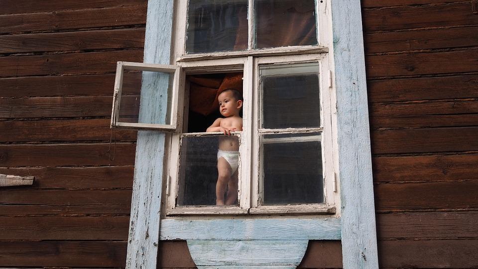 Baby, Window, View, Contemplation, People, Childhood