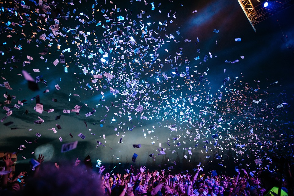 Confetti, Concert, People, Crowd, Night