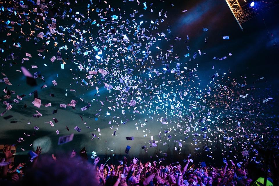 Confetti, Concert, People, Crowd, Night