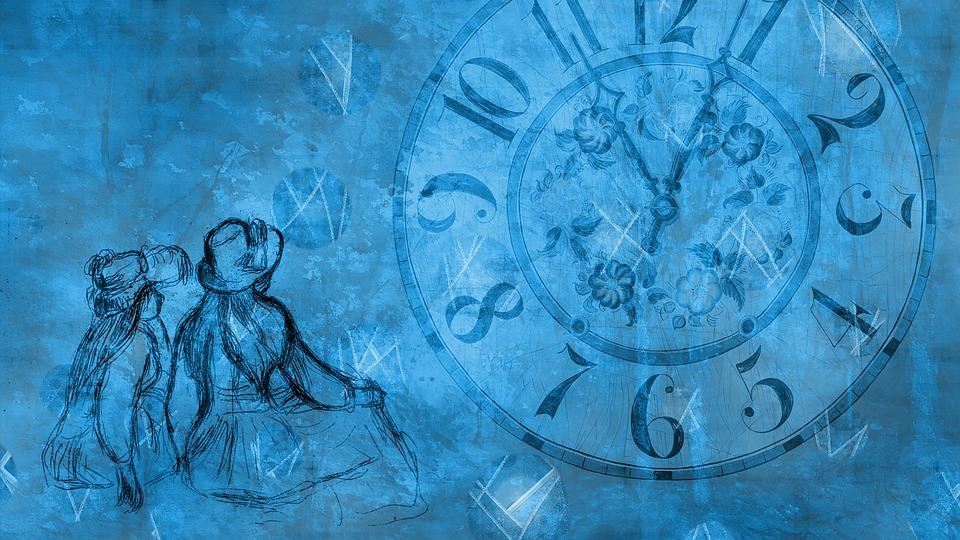 Girls, Clock, Time, People, Postcard, Human, Female