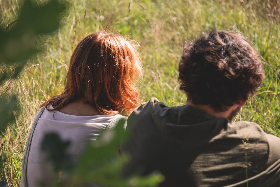 Field, Girl, Grass, Man, Outdoors, People, Sitting