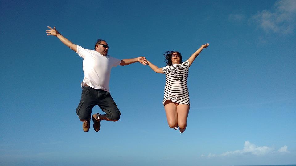 Fly, Love, Blue Sky, Casal, People, Jump