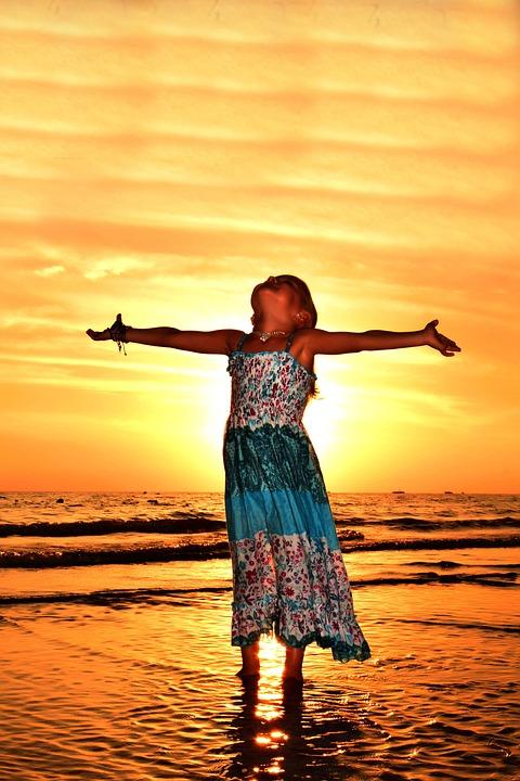 Girl, Day, Sunset, Marine, Ocean, Beauty, People, Child