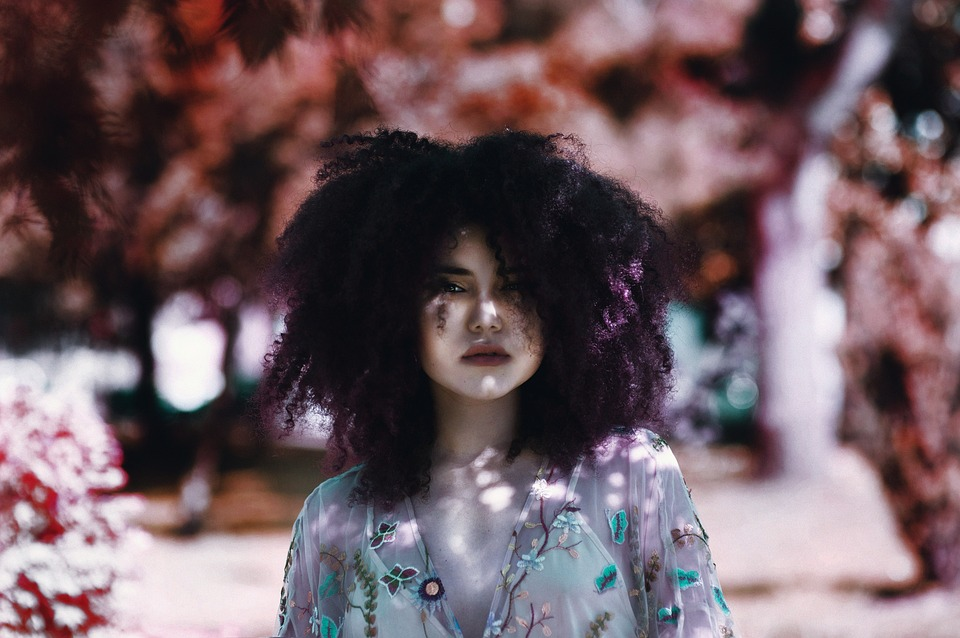 Flowers, People, Girl, Woman, Lady, Curly, Hair, Colors