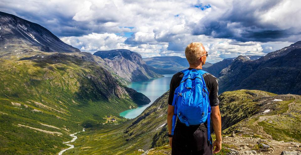 Norway, Mountain, Sky, Blue, Water, People, Landscape