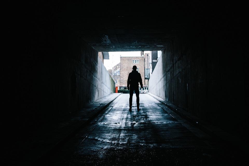 Dark, Tunnel, People, Man, Alone