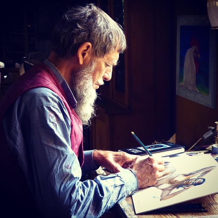 Man, Elderly, Drawing, Senior, Old, People, Person