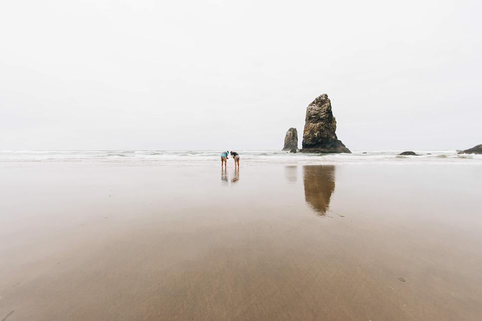 People, Rock, Formation, Sand, Beach, Shore, Water, Sea