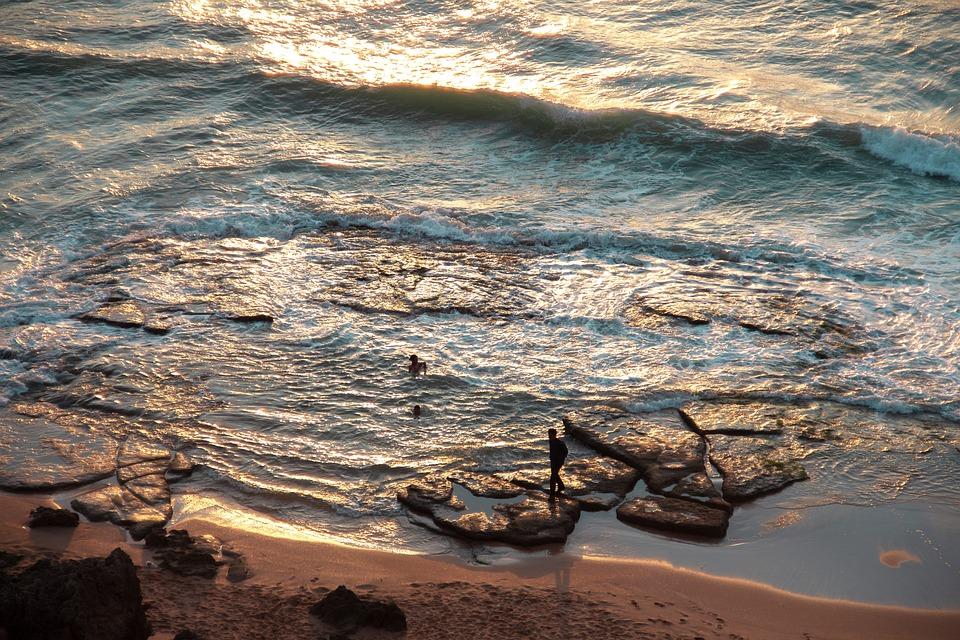 Beach, Ocean, Sunset, Sand, Rocks, People, Sunlight
